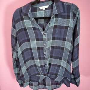 Cleo Blue Plaid Collared Top